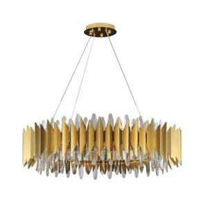 New Design Golden Ring LED Chandeliers Crystal LED Chandelier Lamp Modern Living Room Crystal Golden lights