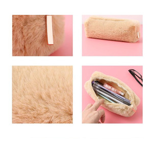 Pencil Box Cute Solid Color Plush Pencil Case For Student Pencil Bag Stationery Pencilcase Kawaii School jllnfE mx_home