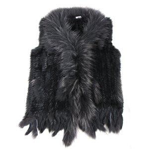 high quality Hot Sale Retail wholesale Raccoon Dog Fur Collar Trim Women Knitted Natural Rabbit Fur Vest Gilet waistcoat 201006