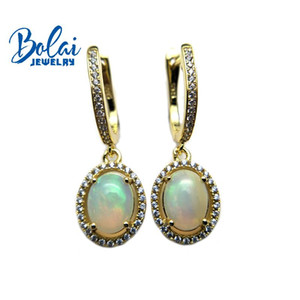 Bolaijewelry,Classic style Natural opal gemstone clasp earrings 925 sterling silver fine jewelry girl party wear best gift