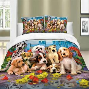 Copripiumini stampati Dogs Set Queen Super King Size Set di biancheria da letto per animali Set di copertura trapunta Cover Collegata con cuscini per bambini Bambini 201210
