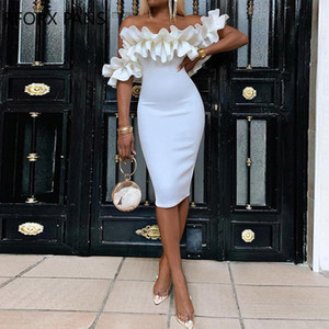 Designer Summer Women Party Sexy White Dresses Off Shoulder Ruched Design Bodycon Dress Free Shipping