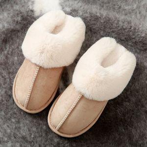 Casa Mujeres Fluffy Zapatillas de invierno Calzo de felpa de invierno Parejas antideslizantes Zapatos de Memoria Espuma Soft Interior Damas Zapatillas de pieles # 287g