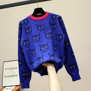 20ssg4 بلوزات سترة هوديس القطط باتن KNITWEARS الملابس النسائية الرقبة الطاقم صالح سليم بلوفرات شارع العليا ملابس النساء