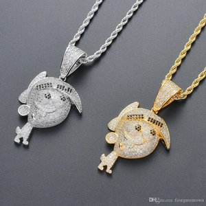 Cute Cartoon Figure Brass CZ Pendant Hip Hop Necklace Kids Jewelry Copper-inlaid Zircon Necklace