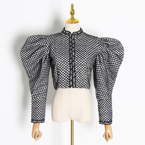 Hot Sale Plaid Coat For Women Butterfly Collar Puff Sleeve Short Female jacket Coat Streetwear Autumn Fashion New Clothing 2020