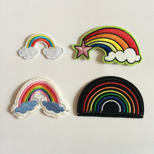 Fabric Artificial Rainbow Patch Heat Transfer Embroidery Clothes Patches,Sew On,Iron On Appliques For Clothing,Backpack