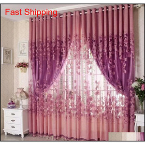 Fashion Floral Tulle Door Window Curtain Drape Sheer Home Decorative Curtains Home Decor Curta qylWnC bdesports