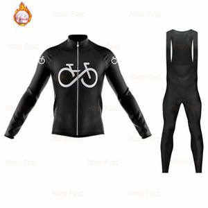 2021 Pro Takım Kış Termal Polar Siyah Bisiklet Jersey Seti Erkekler Uzun Kollu Bisiklet Giyim MTB Bisiklet Giyim Önlüğü Pantolon Seti