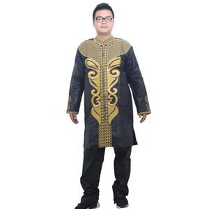민족 의류 MD 아프리카 남성 Dashiki 셔츠 바지 세트 긴 소매 탑 2 조각 슈트 플러스 사이즈 6xl 자수 골드 패턴 히피 옷