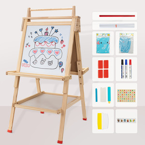 USELUCK Kids Easel with Paper Roll-Double-Sided Drawing Easel-Dry Erase Board & Chalkboard Standing Adjustable Height Drawing Easel Board Bo