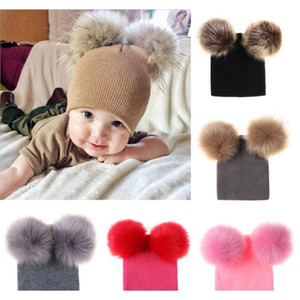 Kids Designer Beanies Autumn Winter Newborn Baby Warm Knitted Beanies Big Double Ball Wool Hats Infant Toddler Venonat Beanies Rra2031 G7Jv