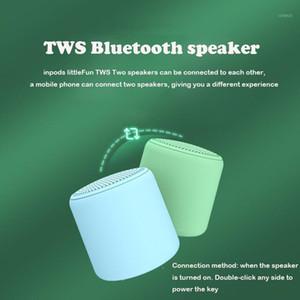 Mini Portable Bluetooth speaker bluetooth 5.0 360 sound effect long endurance TWS Subwoofer black HD call outdoor column1