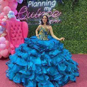 Blue Quinceanera Dresses Ruffles Organza Skirt vestidos de 15 años xv dress Corset Back Sweet 16 Party Gowns