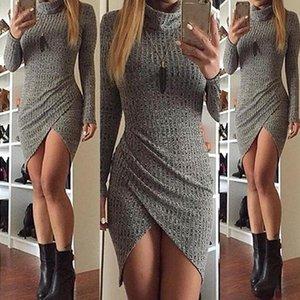 Stand collo Split Womens abiti sexy sottile Solid Color Designer Donne Vestito grigio Hot Sell Abbigliamento
