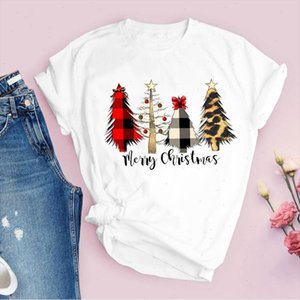 Tees for Women Print Leopard 90s Tree Cute Merry Christmas Ladies Clothes Lady Tops Clothing Female T Shirt Graphic T Shirt