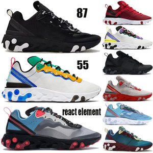 رد فعل العنصر 55 87 الاحذية السرية الذهب أزرق أسود أبيض الرجال النساء أحذية رياضية مع العلامة الأبيض نفسية الأرجواني فرط الوردي المدربين