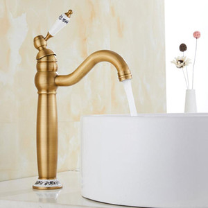 Zinc Alloy Antique Faucet Bibcock Ceramics Bathroom Faucet Kitchen Brass Basin Deck Mounted Sink Tap Cold and Hot Water
