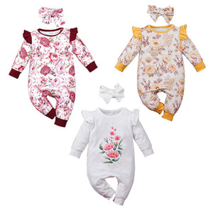 Newborn Baby Floral Long Sleeves Jumpsuits Spring 2021 Kids Boutique Clothing Infant Toddler Girls Cotton Bodysuits with Headband