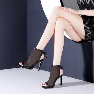 Sexy Black Lace Mesh Women Short Boots Peep Toe Summer Sandals High Heels Ankle Buckle Woman Boots Pumps Shoes LB0026