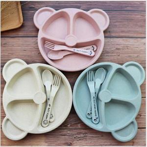 3pcs / set de paille de blé Vaisselle Cartoon Ours Enfants Vaisselle enfants Assiette à dîner Assiette bébé fourchette cuillère bébé manger Vaisselle Sethh