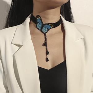 Bohemian Black Velvet Perlen-Schmetterling-hängende Halskette für Frauen Mode Hochzeit Halskette Boho Schmuck