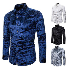 Men's shirt spring and autumn new men's loose casual shirt fashion long-sleeved lapel banquet high-end