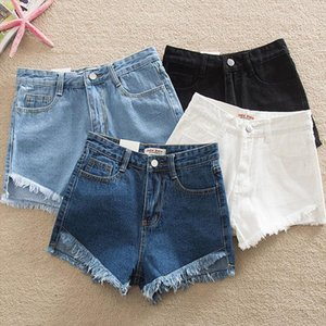 2020 Ripped New Fashion Women Hot Blue White Black Solid Woman Color Denim Shorts Girls Casual Pockets Zipper Female Short Jeans