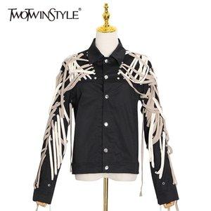 Twotwinstyle cruz vendaje chaqueta casual para mujer solapa de manga larga de encaje hacia arriba abrigo negro femenino femenino moda nueva marea 201126