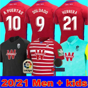 Men + Kinder 2020 2021 Granada Fußball Jerseys 20 21 Granada CF zu Hause weg dritte SOLDADO Herrera Antonio Puertas Fußballhemden