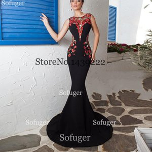 Black Scoop Long Mermaid Evening Dress Strench Spandex Red Flowers Saudi Arabic Wedding Special Occasion Evening Formal Prom