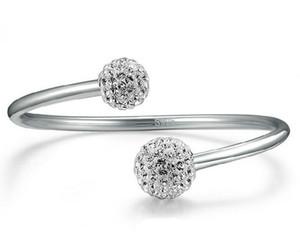 Stulpe-Armband 925 Sterlingsilber-Armband-Frauen Klein Kristallkugel Armbänder Hochzeit Jahrgang offene Charmearmbänder