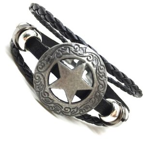 Star Punk Handmade Men Leather Bracelets Women Vintage Bangle Male Homme Jewelry Accessories S qylhFm