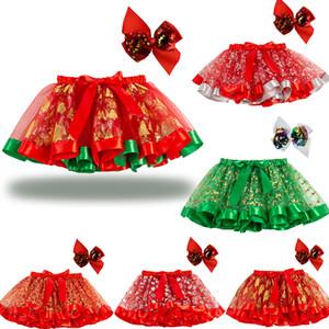 Christmas Halloween Newborn infant Tutu Skirts fashion Net yarn Xmas elk pumpkin baby Girls mesh skirt Clothing kids lace skirts+Hairpin