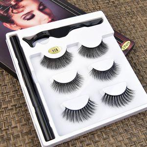 [Eyelash set for makeup-003]3Pairs 6Pcs Double Magnetic 3D False Eyelashes Long Natural Eye Lashes + Tweezer False eyelashes supplier