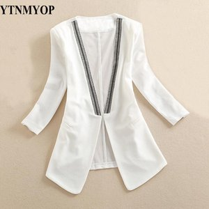 YTNMYOP Spring and Summer Women Blazer High Street Mode Patchwork Costume Manteau à moitié manches féminines Blanc Blasers1