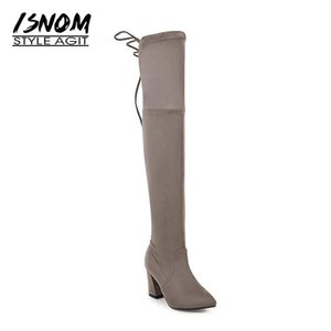 ISNOM High Heels Sexy Flock Woman Over The Knee Boot Stretch Lady Long Boot Fashion Female Shoes Autumn Women Big Size 34-43