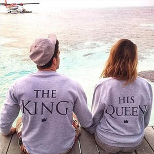 H1071 2020 New Fashion Couples Sweatshirts KING QUEEN Casual Long Sleeve Pullovers Hoodies Lovers Sweatshirt Drop Shipping