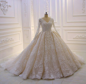 Luxury Royal Ball Gown 2021 Wedding Dresses Full Long Sleeve Lace Beaded V Neck Bridal Gowns Vintage Plus Size robes de mariée