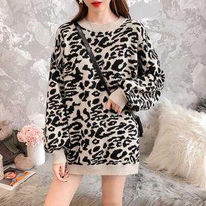 Sondr Coréen Vêtements Pull féminin léopard pour femmes surdimensionnées Lanterne Sleeve Pull Sweaters Jumper Automne Fashion1