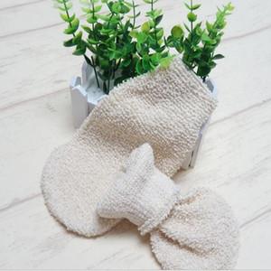 20pcs Bath Gloves Beige Linen Body Cleaning Shower Gloves Exfoliating Bath Glove mitten Fingers Bath Bathroom Gloves