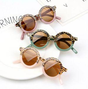 Kids Sunglasses 2021 new girls leopard Patchwork round sunglasses children Uv Protective Eyewear Fashion girls cool beach glasses A5700