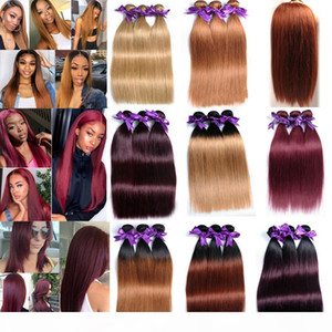 Brazilian Virgin Hair Straight 3 Bundles 300g Brown Ombre Human Hair Bundles T1B27 30 99J Peruvian Malaysian Indian Human Hair Extensions