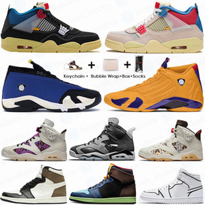 Haute Qualité PK Version Nike Air Jordan 4 1 Travis Scotts Concord 45 Bred 11 Cactus Jack 4 Hommes Chaussures de basket-Ombre UNC Sport Box Sneakers