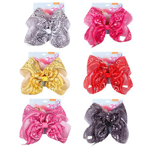 New party 7.5inch large bowknot girls hair clips jojo siwa bows kids barrettes baby BB clip baby girl hair accessories B2559