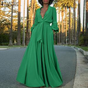 2020 Zanzea Mode Chemise Robe De Femme Summer Summer Sundress Sexy Manteau Feuillée Maxi Vestidos Bouton Femelle Solid Robe Plus Taille 5XL