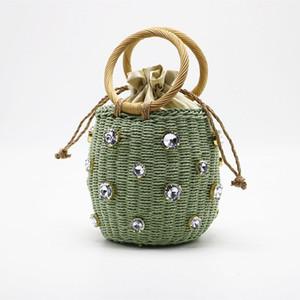 Sommer-Runde Rattan handgemachte Diamant-Perlen-Tasche Bohemian Freizeit Stroh-Beutel Eimer Stricken Schulter Crossbody Perlen Strand