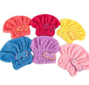Coral Fleece Bath Hat Magic Hair Dry Drying Turban Wrap Towel Hat Water Absorption Quick Dry Bath Cap Bow Make Up Towel YL157
