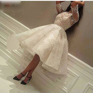 Round Neck Half Sleeves Lace Prom Dresses Knee Length A-Line Pretty Formal Gowns Evening Dresses