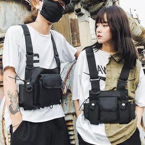 Подверженная функциональная тактическая сумка на груди мужчины мода хип хмель жилет уличная сумка талии пакет женские черные грунду